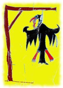 Am Galgen baumelnder Adler