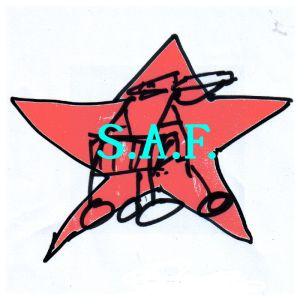 Logo der SGAF bzw. SAF (analog zur RAF): Blassroter Stern mit Rollator im Zentrum, darauf Schriftzug.